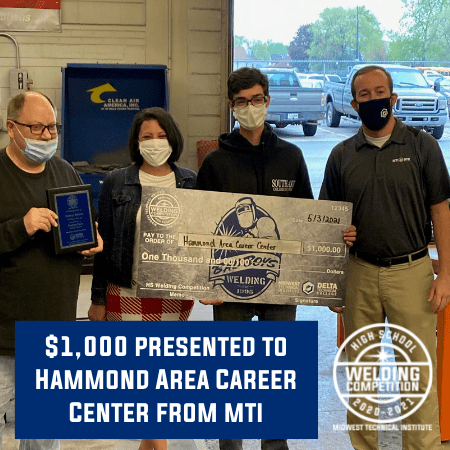 Midwest Technical Institute Presents $1,000 Donation to Hammond Area Career Center Welding Department