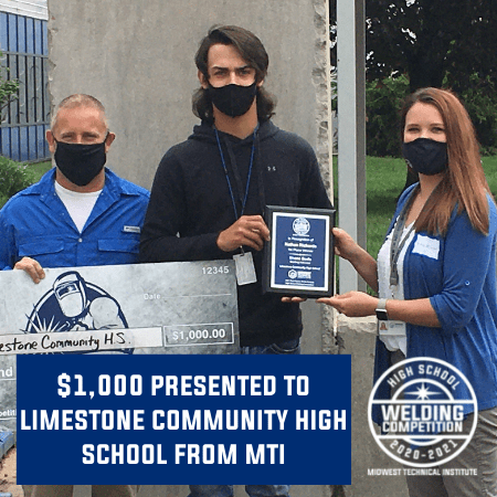 Midwest Technical Institute Presents $1,000 Donation to Limestone Community High School Welding Department
