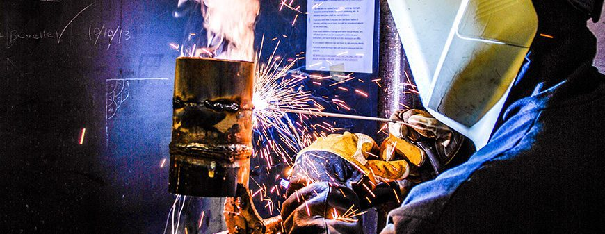 welder working in classroom